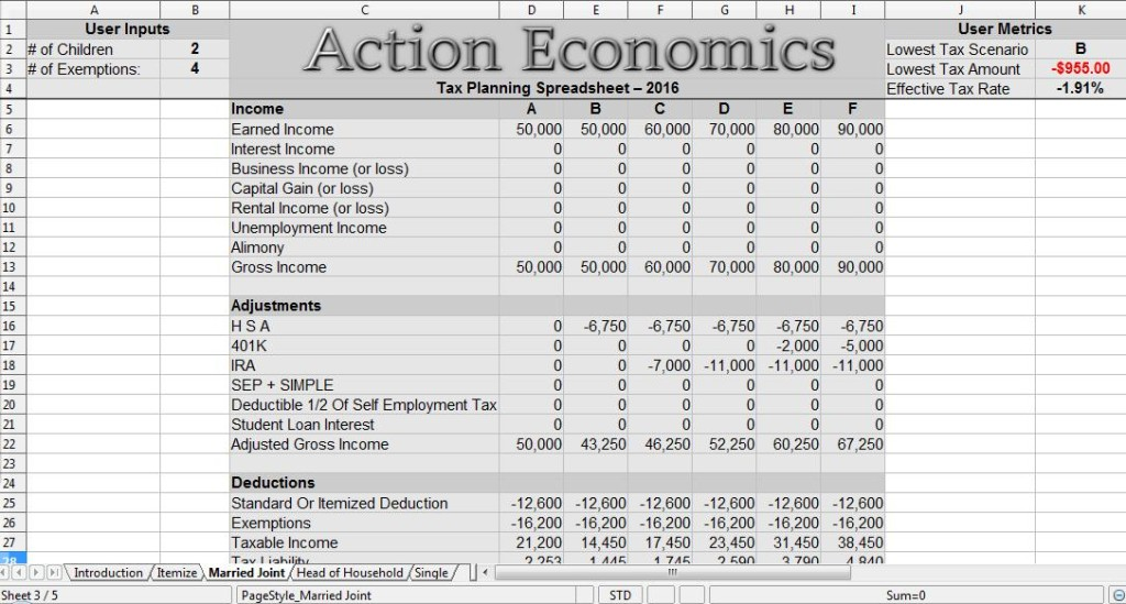 Tax Planning Spreadsheet 2016
