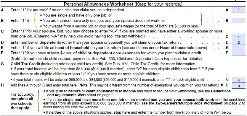 Federal Income Tax W4