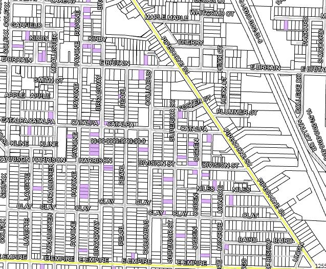 The purple lots are Land Bank owned property
