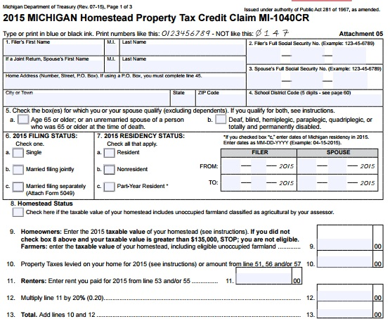 Guide To The Michigan Homestead Property Tax Credit -Action