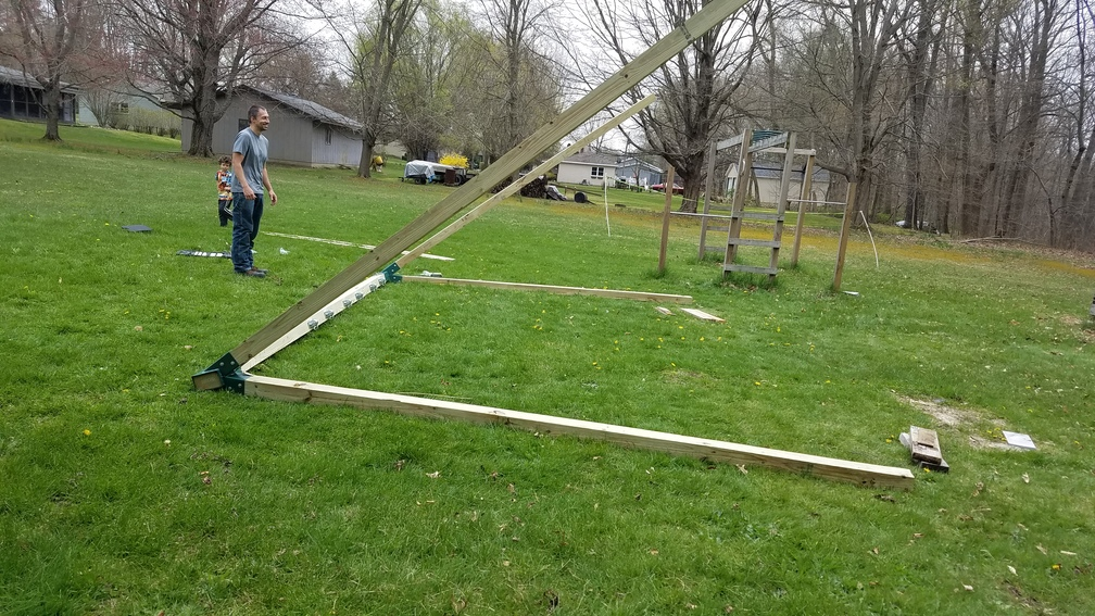After building a swing set lifting it is half the battle